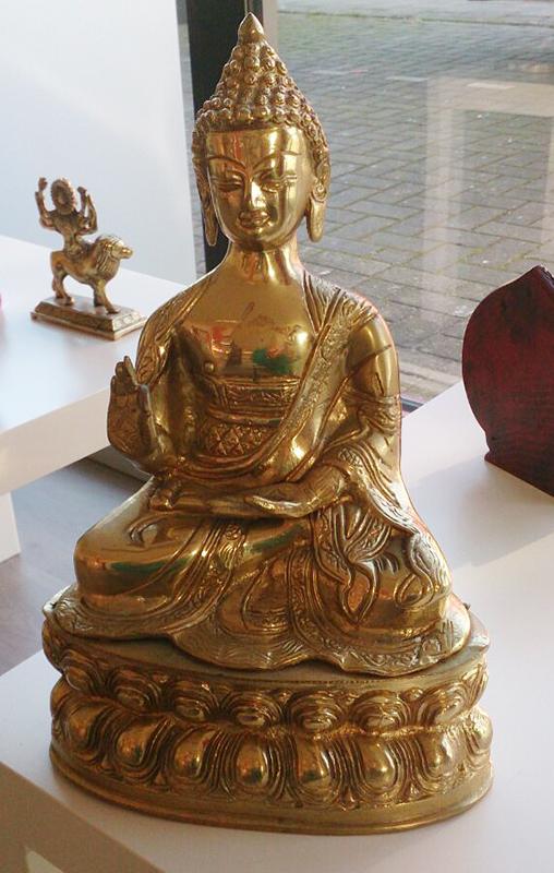 massief koperen Buddha